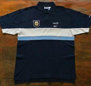 Argentina Reebok 1999 soccer polo shirt. For Players. Marcelo Bielsa. Coca Cola