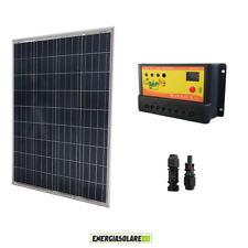 Kit Solare Fotovoltaico 100W 12V Regolatore PWM 10A Nvsolar Camper Casa Nautica