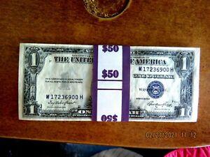 HALF BRICK OF 50 CONSECUTIVE 1935E GEM CRISP UNCIRCULATED $1 SILVER CERTIFICATES