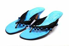 Women's Beverly Feldman Sandals Slides Heels Turquoise Blue Black Beads 7.5