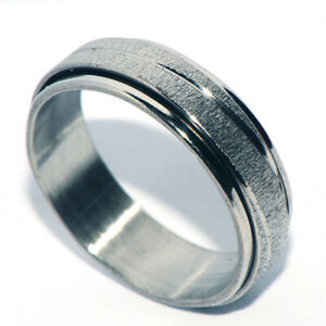 Womens Mens Stainless Steel Spinner Spinning Ring Silver Rings Jewelry Size 6