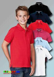 KARIBAN Kinder Kurzarm Polo Shirt uni in 6 Farben und 5 Größen 4 bis 14 Jahre
