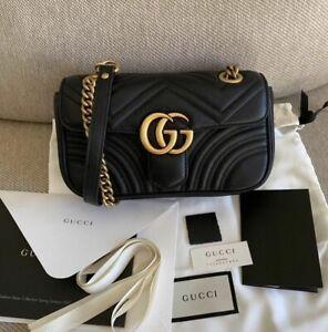 ** Gucci **GG** Mini** 2.0** Marmont Black Leather Matelasse Shoulder Bag