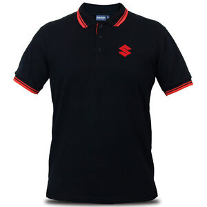 Official Suzuki Logo Motorcycle Superbike Racing Bike Black Men Polo Tee T-Shirt