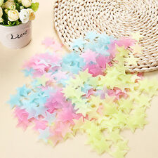 100Pcs 3D Stars Glow In The Dark Luminous Fluorescent Plastic Wall Stickers Kids