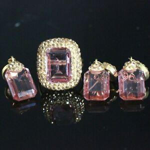 925 Sterling Silver Handmade Gemstone Gold Plated Amethyst Ladies Set