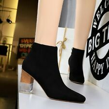 Ankle Boots Ladies Square Toes High Heel Block Faux Suede Shoes Casual UK6 Sz39