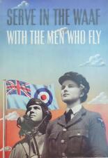 A3 World War II Propaganda Poster SERVE IN THE WAAF RAF Air Force FLY FLAG