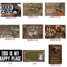 Metal Tin Sign Wall Decor Man Cave Deer Hunt Bear Home Art Poster Bar Pub Retro
