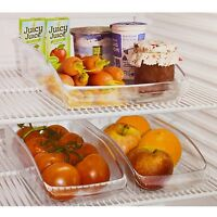 2 Clear Plastic Fridge Organiser Cupboard Fruit Veg Rack Box Storage Holder Tray