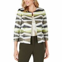 KASPER NEW Women's Petite Open-front Jacquard Jacket Top TEDO