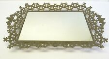 Antique Old Brass Metal Tray Vanity Mirror Ornate Gold Colored Drink Serving