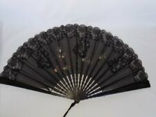Antique Victorian Civil War Era Black Lace Carved Sticks Lady Mourning Hand Fan
