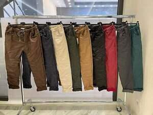 Italian Wet Look Ladies Faux Leather Magic Pants Joggers Trousers UK Size 10-20