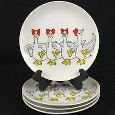 Set of 4 Vtg Dessert Salad Plates by Fitz and Floyd Geese Chorus Line 1979 Japan