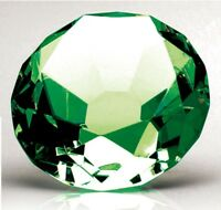 Green Glass Diamond Paperweight with option of Personalisation 10 cm OC081