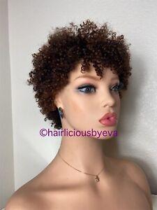 Human Hair Wig Ombré Kinky Curly Afro Short