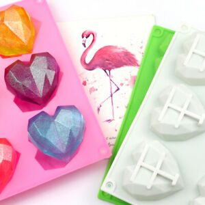 6 Geo 3D Hearts Silicone Mould Chocolate Jelly Ice Wax Melts Heart Baking Mold