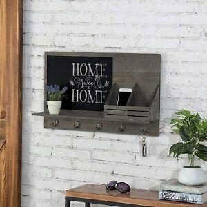 Rustic Grey Wood Wall-Mounted Mail Sorter Rack w/ Key Hooks & Black Chalkboard