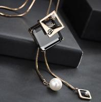 Damen Halskette Mode Schmuck edel Geschenk mit Anhänger Gold lange Kette M20