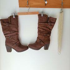 BNIB NOVO Danielle boots brown sz 10 AU block Heels teddy faux suede calf length