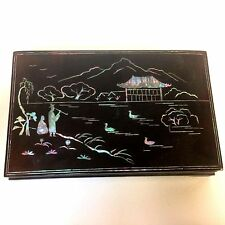 Japanese Lacquered Mother of Pearl Inlay Lap Desk Box Painting Writing Inkwell