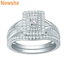 White Cz Sterling Silver Size 6 Newshe Wedding Engagement Ring Set 1.2ct Emerald