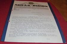 mitteilung /schreiben arti ag barmen vorm werk emil jansen antik alt 1925 papier