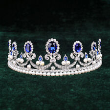 Royal Blue Crystal Princess Pearl Tiara Rhinestone Bridal Crown Wedding Hairband