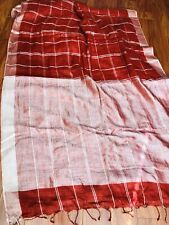New Linen Silk Red Saree w/ Zari -Blouse Fabric Party Wedding Benarasi #pattu