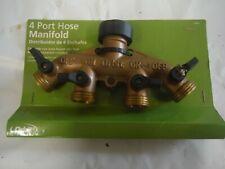 Orbit 4 Port Brass Water Hose Manifold Hose Faucet Converter & Shut off Valves
