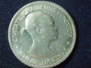 GHANA SILVER PROOF COIN 10 SHILLINGS 1958 YEAR KM#7 INDEPENDENCE  BITTEN BY CAT