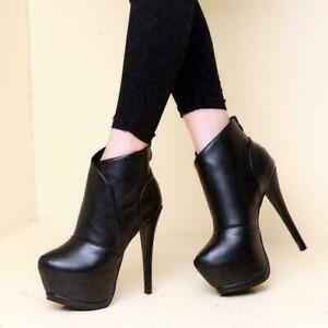 Women Personality Super High Heel Stiletto Platform pointy Toe zip Ankle Boots