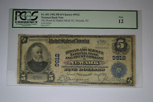 Newark, NJ - $5 1902 Plain Back Fr. 601 The Broad & Market NB Ch. # 9912. PCGS F