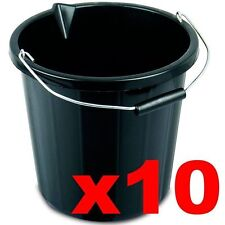 10 x Black Builders Bucket Plastic 3 Gallon 14 Litre 14L Strong Water Mixing