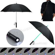 7 Farbwechsel Regenschirm LED Licht Griff Schwarz Schirm Golfschirm Tragbar