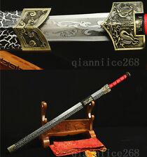 "42"" BLACK WHITE  SAYA 1060 CARBON STEEL HAS DRAGON SHARP CHINESE HAN SWORD 汉剑"