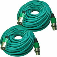 2 XLR 3 pin male to female shielded powered speaker cable cords 50 ft foot pair