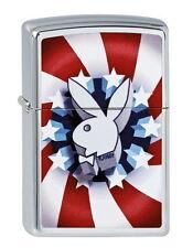 ZIPPO Feuerzeug PLAYBOY RED WHITE BLUE High polished Chrome Hase Bunny OVP NEU