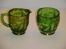 EAPG Green and Gold Delaware Sugar and  Creamer Set