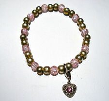 HANDMADE PINK CRACKLE GLASS 6mm ROUND BEADED STRETCH HEART CLIP CHARM BRACELET