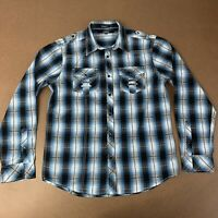 Carbon Mens Large Classic Fit Blue & Black plaid Long Sleeve Button Front