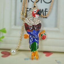 Parrot Sweater Bead Necklace Rhinestone Crystal Pendant Christmas Party Gift