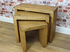 Handmade Rustic Solid RedWood Wooden Nest of 3 Tables Farmhouse
