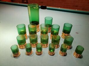 18 pc Vintage Imperial Glass Shotgun Shell Bar Set Shot Glasses & Rare Pitcher