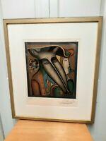 """Mihail Chemiakin """"Les Gendarmes"""" signed Artist Proof Art Print Framed Art"""