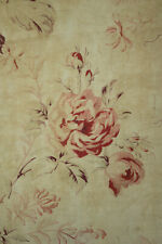 Antique French fabric printed circa 1890 faded floral pink & purple shabby chic