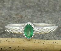 Natural Emerald May Birthstone 925 Sterling Silver Handmade Band Ring US 4 to 15