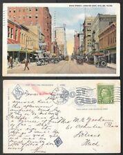 1935 Texas Postcard - Dallas - Main Street Scene Looking East