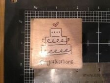 Congratulations Cake wood mounted Rubber stamp - may be discolored damaged